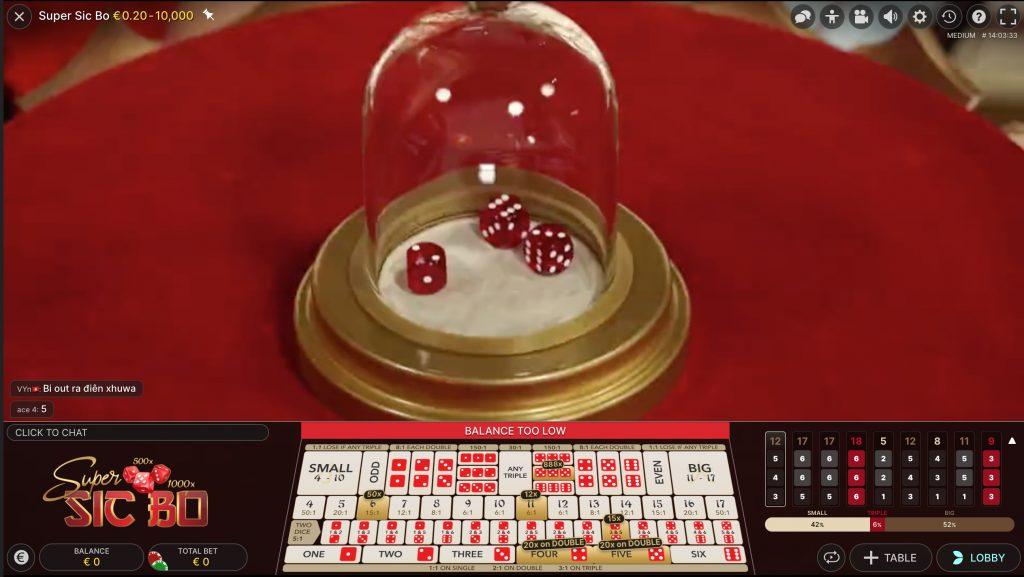 Super Sic Bo in een online casino