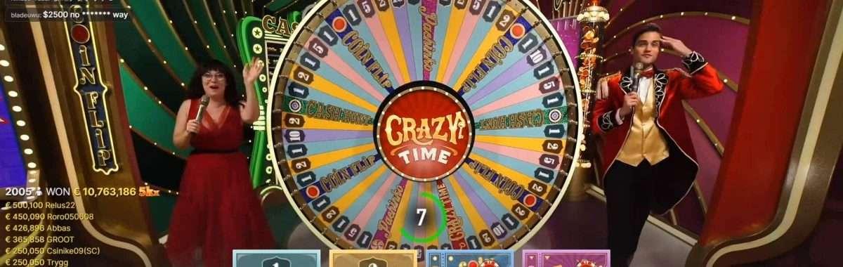 Evolution Gaming keert recordbedrag ($12,5 miljoen) uit in Crazy Time