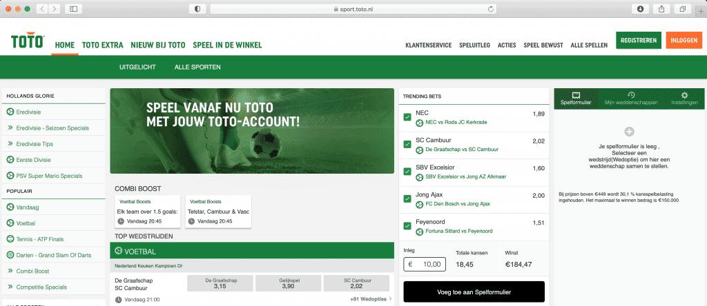 Een account aanmaken bij de toto doe je door rechts boven te kiezen voor 'registreren'
