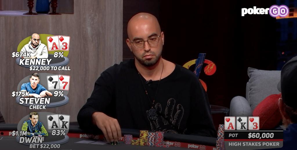 High Stakes Poker s08e05 seizoen 8 aflevering 5 Bryn Kenney, Brandon Steven, en Tom Dwan.