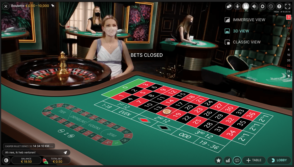 Immersive view bij Live Roulette