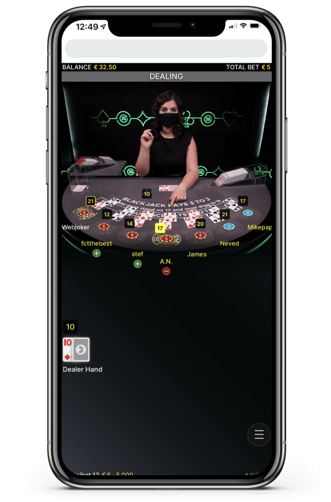 Stap 8 - extra - geen optie bij Live Blackjack als je direct blackjack hebt