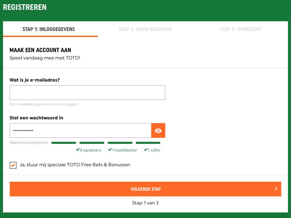 TOTO account aanmaken- stap 2 emailadres en wachtwoord