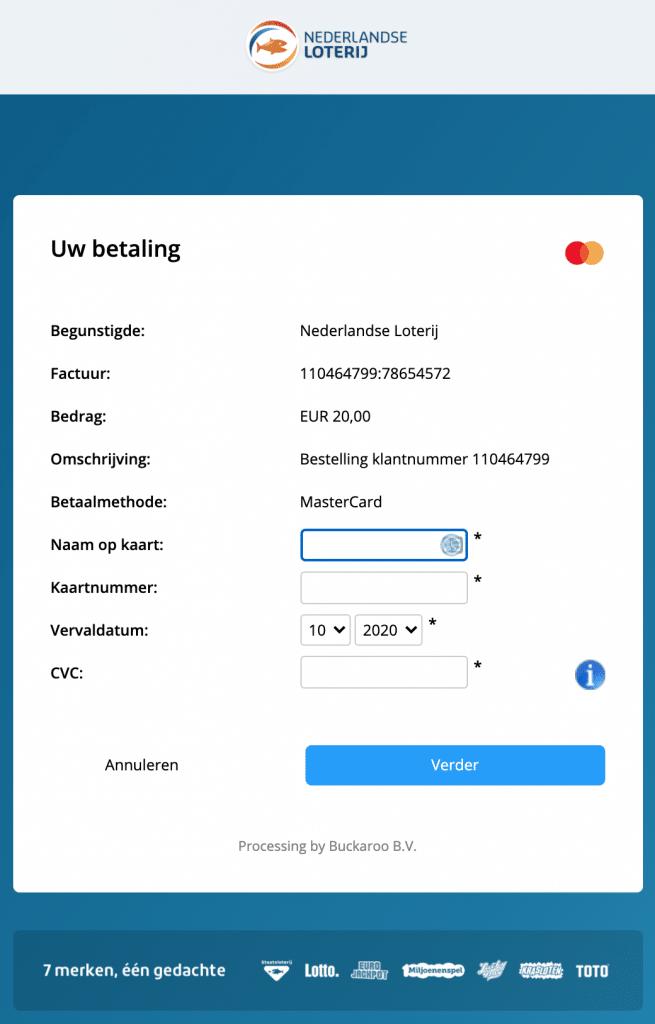 TOTO opwaarderen via creditcard