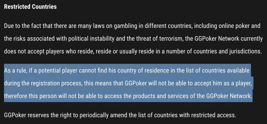 Uitgesloten landen GGPoker