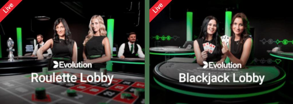 Live Blackjack Live Roulette Roulette Lobby Blackjack Lobby