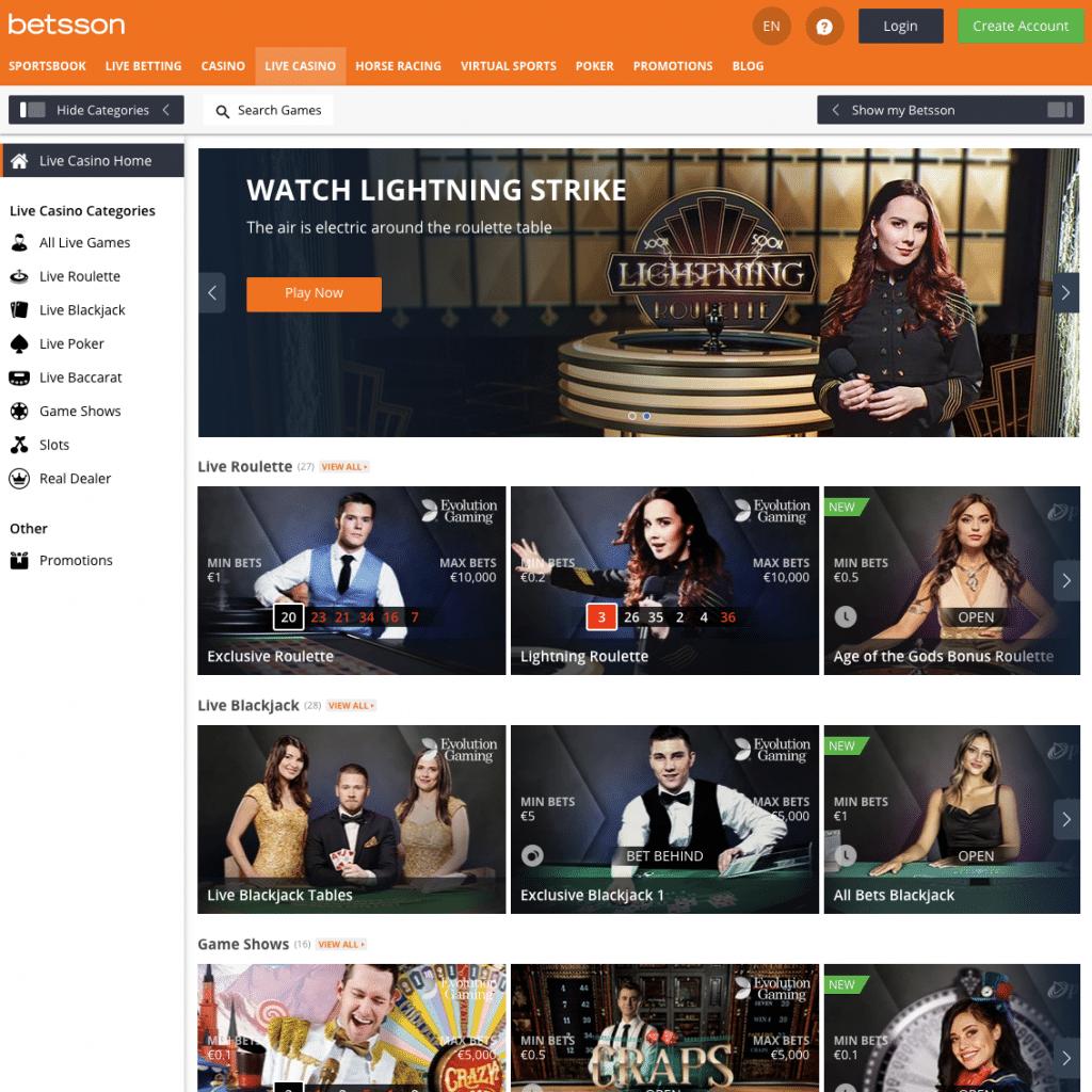 live casino homepage