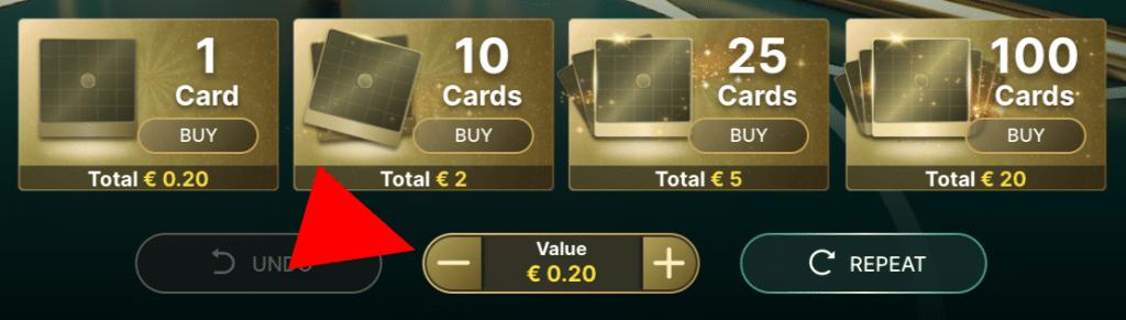 Bepaal de waarde per kaart