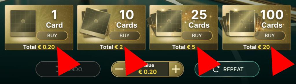 Bepaal de hoeveelheid kaarten