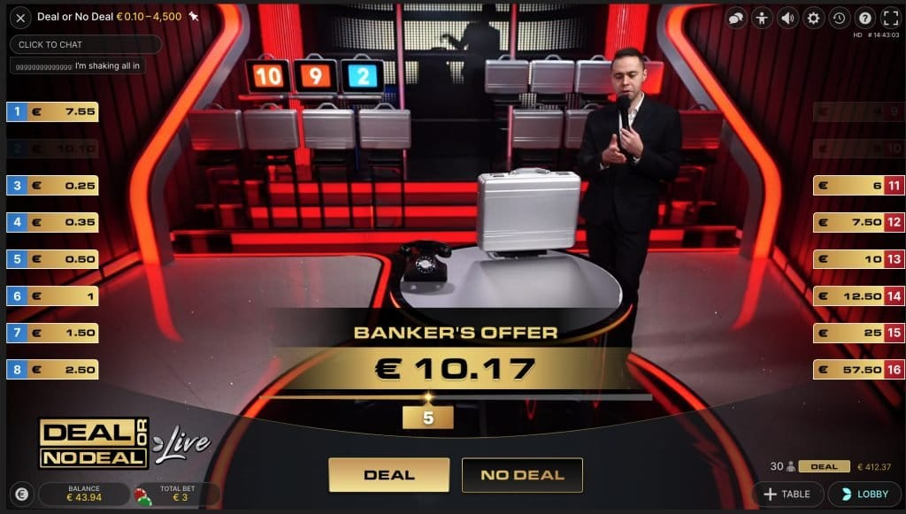 3 koffers open deal or no deal