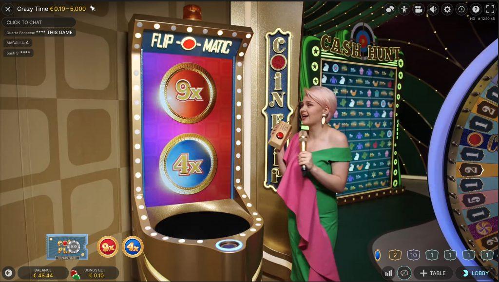 Bonusgame Coin Flip bij Crazy Time