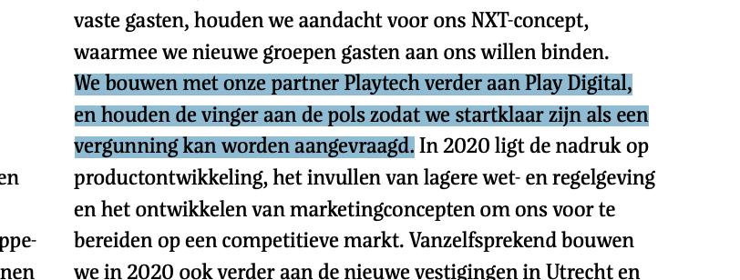 fragment uit het jaarverslag 2019 van Holland Casino waarin het Playtech noemt