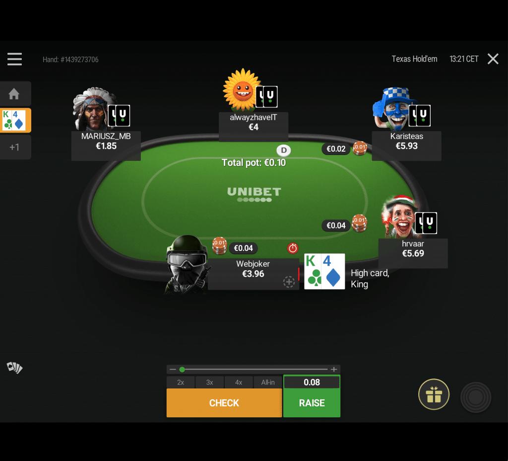 Unibet Poker aan tafel