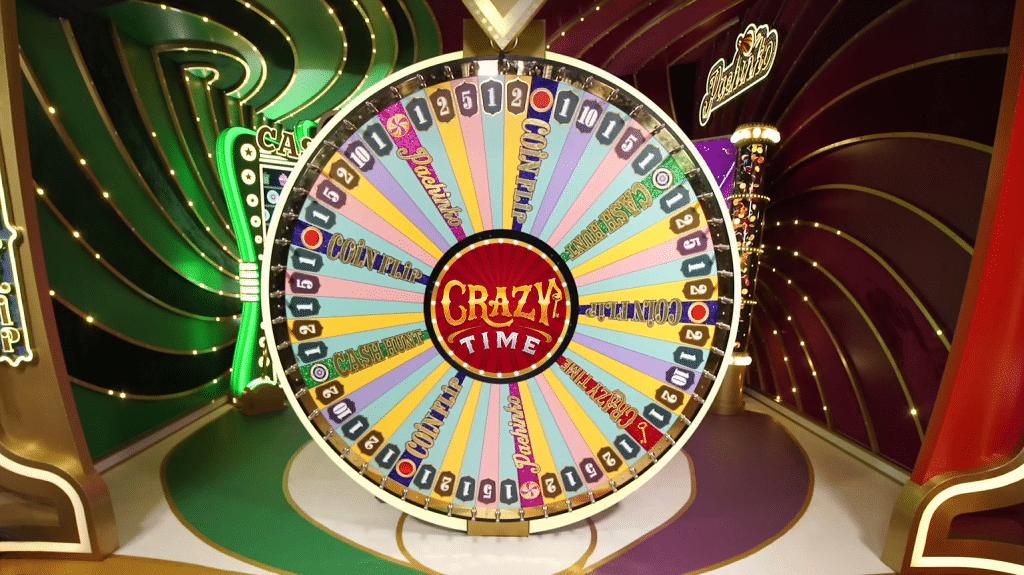 Het Crazy Time rad met 54 vakjes