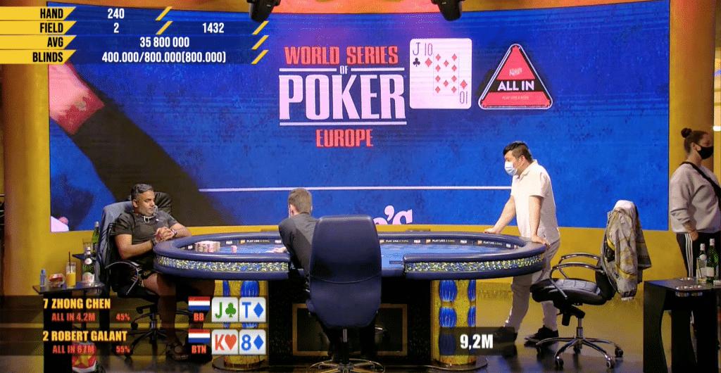 Robert Galant en Zhong Chen tijdens de laatste hand van het European Poker Festival (EPF)