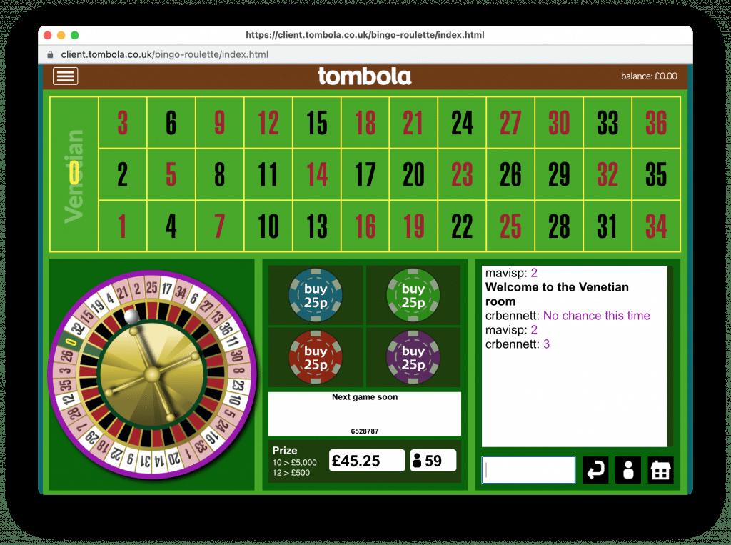 BingoRoulette bij Tombola