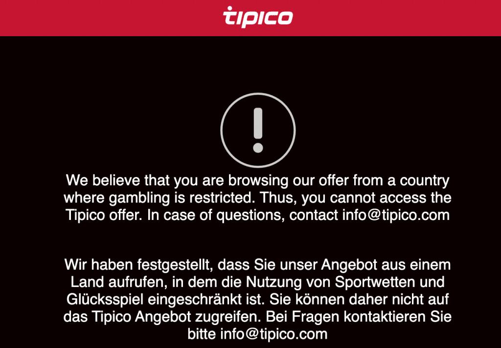 boete tipico website offline