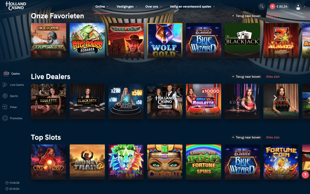 Holland Casino Online casinospellen gokkasten