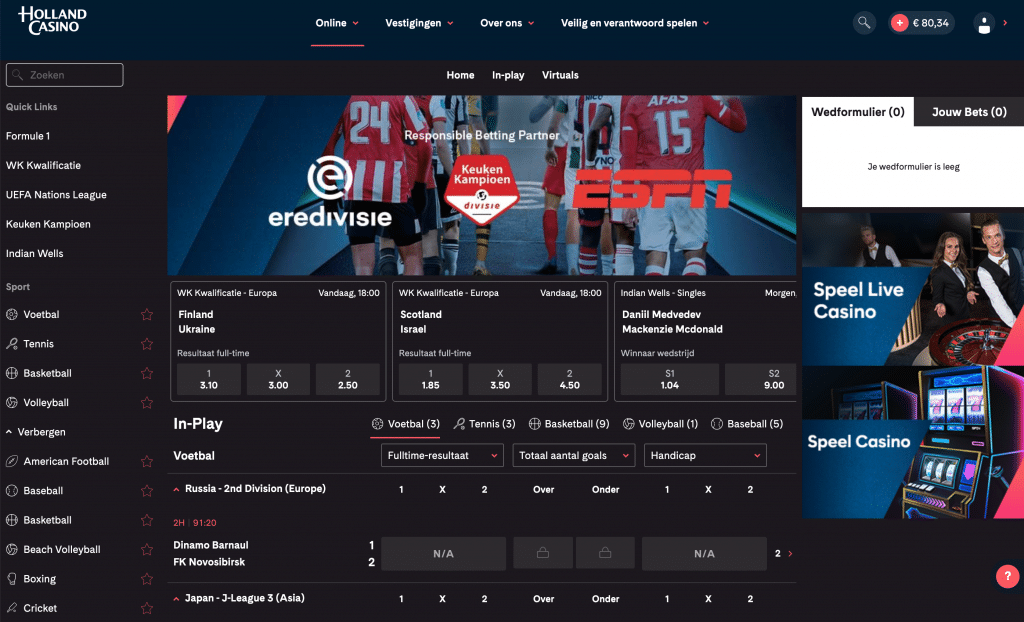 Holland Casino Online sportsbook wedden op sport